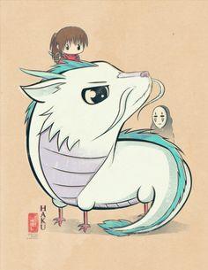 miyazaki fanart: Cihiro and Haku