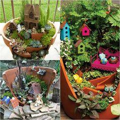 Krásna dekorácia do záhrady, rozprávkové záhradky v jednom kvetináči
