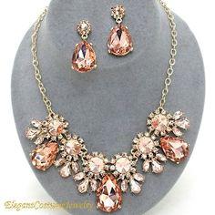 Blush Peach Crystal Necklace Set Chunky Elegant Wedding Jewelry