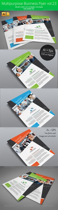 Multipurpose Business Flyer vol.23 #GraphicRiver An elegant, professional, corporate and ultra-clean layou