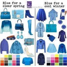 Blauw/ blauwtinten voor het heldere wintertype en het heldere lentetype.
