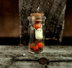 Halloween Ghost, in a Bottle, Ghost and Pumpkin, Pumpkin Patch, Clay, Halloween Charm, Clay Ghost, Halloween Diorama, Tiny Ghost, Fall