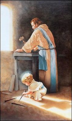 This is so beautiful in detail. Look how the little Jesus is playing with the nails his father Joseph uses. In the meantime see the shadow of the cross behind Jesus. It is at that cross, simular nails pierced His hands and feet. Pictures Of Jesus Christ, Religious Pictures, Baby Jesus Pictures, Bible Pictures, Catholic Art, Religious Art, Jesus Painting, Jesus Christus, Jesus Art