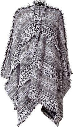 ShopStyle: Pringle of Scotland White/Black Allover Fringe Wool Poncho
