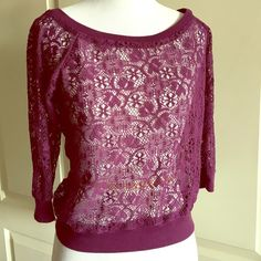 """Urban outfitters Kirra purple lace see through top Pretty! Purple lace top. Perfect over a tank top. 3/4 sleeves, boat neck. Measurements laying flat are: bust 18"""", waist 15"""", length from neck to hem 19"""", sleeve 14"""" Urban Outfitters Tops Blouses"""