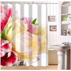 YY612f-140  New Custom Corlorful Flowers tulip Design Modern Shower Curtain bathroom Waterproof  $54