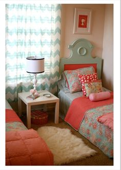 Little girls room, love the combination of pink and mint