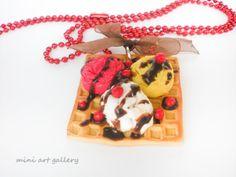 Waffle necklace strawberry banana ice cream / by MiniArtGallery