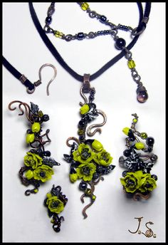 Yellow poppy flowers jewelry set by JSjewelry