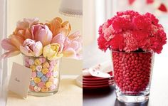 Would be so easy to duplicate. All you need is candy and some fresh flowers. I love love having fresh flowers in my house anyways so this would be the perfect decoration for me!