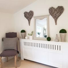 Front entrance or study to our home.pale greys and antiques white walls bring a calming feel to the room. Grey driftwood hearts Greenery Radiator Cover Make a house a home. Interior Design Inspiration, Home Interior Design, Interior Decorating, Decorating Ideas, Romantic Decorations, Radiator Cover, Hygge Home, Hallway Ideas, Cozy House