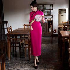 Chinese Style Dress Rose Wedding Cheongsam Slim Vintage QiPao Dress Autumn Winter Woolen Long-sleeved Chinese Jurken