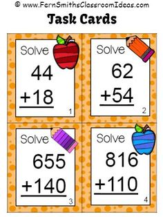 #FREE Task Cards in Preview! Addition of Multi-Digit Whole Numbers Within 1,000 Task Cards and Recording Sheet ~ School Themed #TPT $Paid