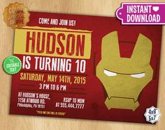IronMan Invitation EDITABLE TEXT by ColorPrintsShoppe on Etsy