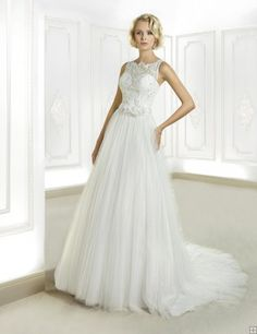 Simple A-line Straps Beading&Sequins Lace Sweep/Brush Train Tulle #WeddingDresses
