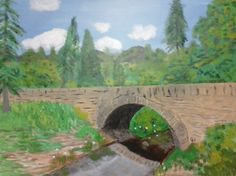 """Stone Bridge"" 24x18 acrylics on canvas panel inspired from photo on a prayer letter from missionaries to Scotland."