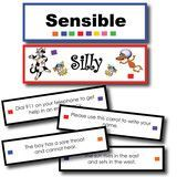 Your students will absolutely love this activity! After reading the sentence card they must decide if it is a silly or sensible sentence. Fun!