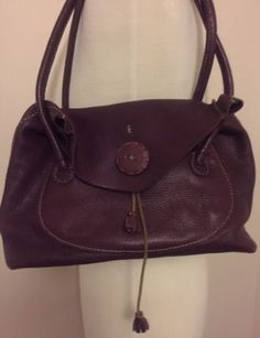 Henry-Cuir-Beguelin-Brownish-Purple-Shoulder-Bag-with-Two-Straps-amp-Flap-Front