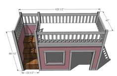 Great DYI plans for a loft bed/playhouse! I think that we'd make it taller, with a detachable front to better transition to her teen needs