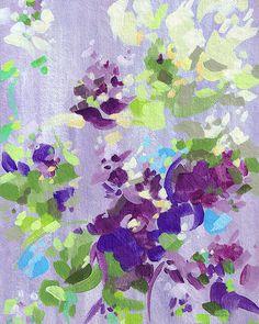 Irises and White Tulips II / art print / purple by CortneyNorth, $25.00