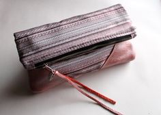Fold over clutch, leather clutch OOAK. $40.00, via Etsy.