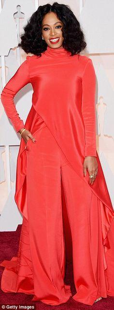 Bright sparks: (L-R) Jennifer Hudson, Solange Knowles and Octavia Spencer stood out in bol...