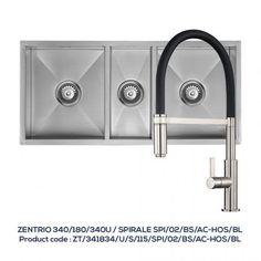 ZENTRIO 340/180/340U 2.5 Bowl Sink + SPIRALE BLACK