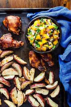 Sheet Pan BBQ Chicken With Mango Salad From Healthy Eating One-Pot Cookbook - Healthy Delicious Mango Salad, One Pan Meals, Barbecue Chicken, Sheet Pan, Pan Recipe, Meal Prep, Dinner Recipes, Healthy Eating, Cooking