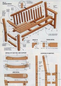 #2037 Garden Bench Plans - Outdoor Furniture Plans