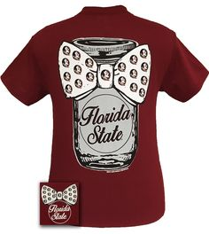 """Details: Our """"FSU Mason Jar"""" design features a mason jar with """"Florida State"""" etched into the glass. It is adorned with a bowtie that has the classic Florida Logo as a repeating pattern. This comforta"""