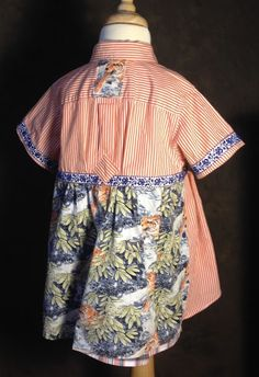 """Toddler dress made with Paganoonoo """"Ashlee"""" upcycling pattern and boy's shirts"""