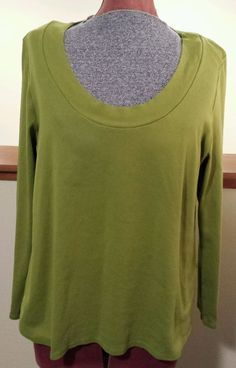 Womens J Jill Perfect Pima Scoop Neck Long Sleeve Green Tee 100% Cotton Size XL  #JJill #BasicTeen #PimaCotton