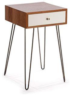 Inspired by mid century modern design, our Newton nightstand introduces both industrial and modern elements. A solid black walnut case and white lacquered