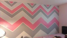 Pink,grey,& white chevron striped walls except with turquois Pink Bedroom Design, Pink Bedroom Decor, Gray Bedroom, Bedroom Wall, Trendy Bedroom, Bedroom Ideas, Bedroom Makeovers, Striped Walls Bedroom, Pink Striped Walls