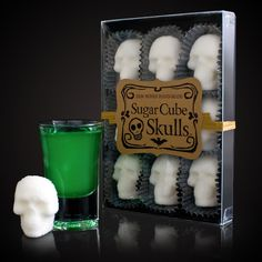 When it's time to sweeten up a mysterious laboratory concoction, a bitter potion brewed up in a bubbling cauldron, or just a cup of coffee on Halloween, then go beyond the boring old sugar cubes and plop in a couple of these cool new Sugar Skulls instead