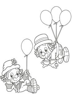 Clown Crafts, Carnival Crafts, Circus Carnival Party, Carnival Themes, Adult Coloring Book Pages, Colouring Pages, Coloring Pages For Kids, Coloring Sheets, Coloring Books