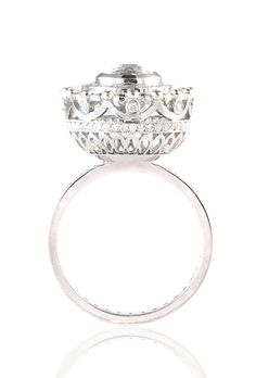 """Brides.com: Unique Engagement Ring Settings """"Coco Shield"""" ring, price upon request, Polly WalesPhoto: Courtesy of Polly Wales"""