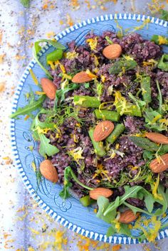 Healthy, Easy Weekend Recipe: Black Rice Almond Salad. Serve this as a side, or add extra protein for a satisfying dinner.