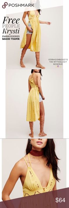 """Free People Krysti Embroidered Maxi Tank Adorable sunny yellow maxi tank with cute embroidered detail along with bronze stitched sequins throughout. Tie at the bust. High side vents. Spaghetti straps. Plunging v-neckline. Strappy back detail. Tonal and contrast sequin embroidery. Fabric is 60% cotton, 40% modal. Length is approximately 49"""", bust is 19"""" laid flat, waist is 18"""" laid flat. Worn once. In excellent gently used condition. Free People Tops Tank Tops"""