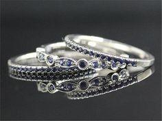 3Pcs Sapphire Ring Set 14K white Gold Sapphire Ring by DofLove