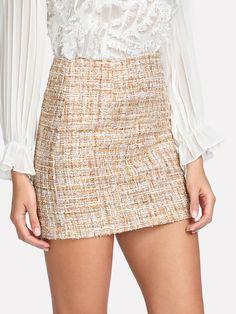 7c77c5d71204 Shop Space Dye Tweed Skirt online. SheIn offers Space Dye Tweed Skirt &  more to