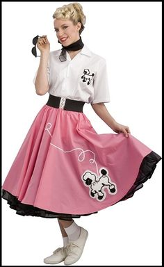 Image of 50s ROCK N ROLL POODLE SKIRTS - 4 COLOURS 1950s Poodle Skirt, Poodle Skirt Costume, Poodle Dress, Pink Poodle, Costume Dress, Poodle Skirts, Pink Costume, Black Costume, Poodle Skirt Outfit