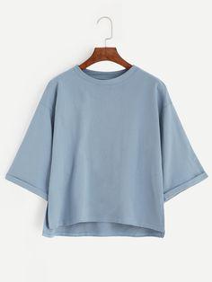 Blue Drop Shoulder Dip Hem Cuffed T-shirt
