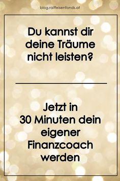 Hier können Sie in 30 Minuten Ihr eigener Finanzcoach werden! #finanzcoach #finanzen #knowhow #wissen #bildung #finanzen #coach #berater #trainer #aktien #anleihen #fonds #sparen #investieren #anlegen #geld #träume #motivation #tipps #fitwerden Trainer, Motivation, Tricks, Retirement Savings Plan, Money Plant, Become A Millionaire, Investing, Inspiration