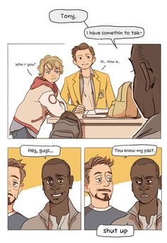 peep peep by Hallpen.Where Rhodey meets Harley and Peter.This is the best, wish it would happen!<<<I love how peters wearing 3 layers of shirts/jackets Marvel Avengers, Marvel Jokes, Avengers Memes, Marvel Funny, Marvel Dc Comics, Marvel Heroes, Marvel Fan Art, Spideypool, Superfamily Avengers