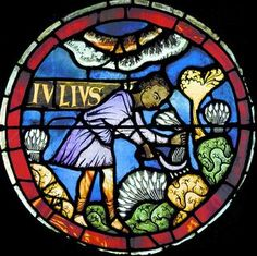 Lausanne Cathedral – labours of the months and zodiac signs – Astrology and Art Medieval Stained Glass, Stained Glass Church, Stained Glass Angel, Faux Stained Glass, Stained Glass Windows, Broken Glass Art, Rose Window, Zodiac Signs Astrology, Church Windows