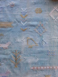 Image of Antique Embroidered Indigo Moroccan Cactus Silk Rug/RESERVED FOR YUMI