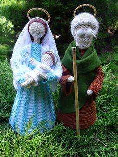 Święta rodzina/ szydełko Easy Christmas Decorations, Crochet Christmas Ornaments, Christmas Angels, Christmas Crafts, Christmas Trees, Crochet Flower Hat, Crochet Baby, Crochet Patterns Amigurumi, Crochet Dolls