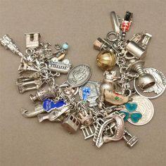 Grand Tour of Europe Charm Bracelet Sterling Silver Vintage Loaded