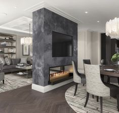 Love this idea of a two way fireplace dividing the dining room and family room. - Home Decor İdeas Dining Room Fireplace, Home Fireplace, Fireplace Design, Modern Fireplace, Fireplaces, Luxury Interior, Home Interior Design, Modern Interior, Exterior Design